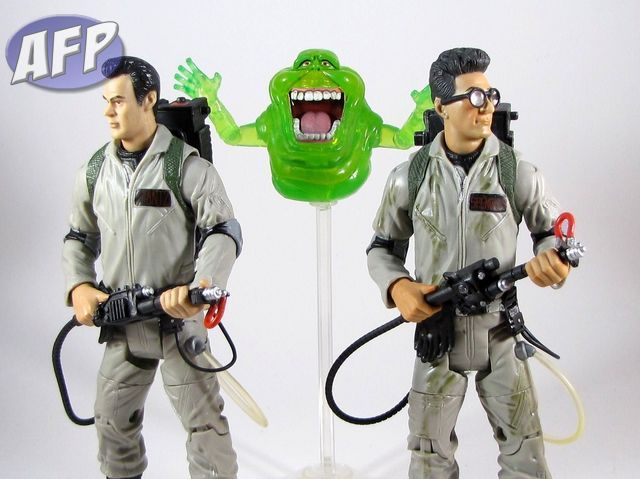 Ghostbusters Ray Stantz with Egon Spengler and Slimer