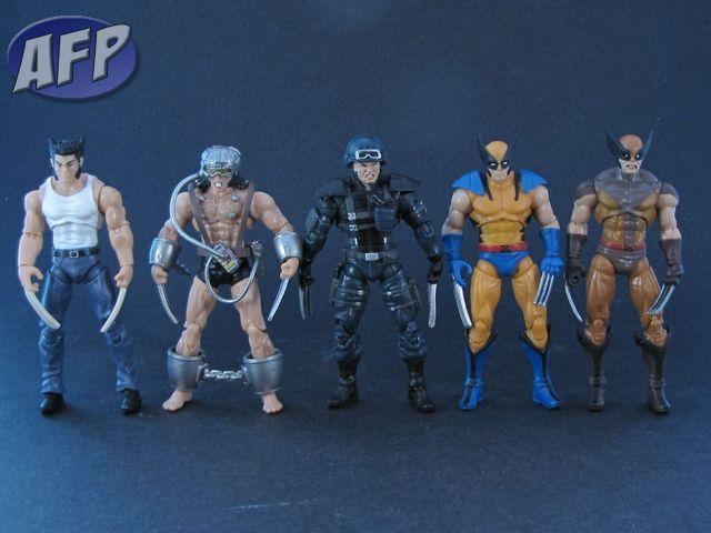 Logan, Weapon X, Stealth Strike Wolverine, Wolverine (Tiger Stripe), and Wolverine (Brown and Tan)