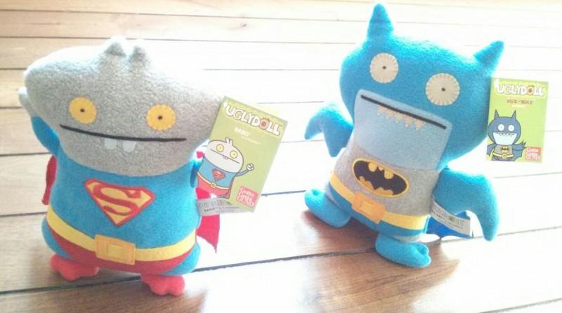 Uglydoll DC Comics Plush - Babo as Superman and Ice-Bat as Batman