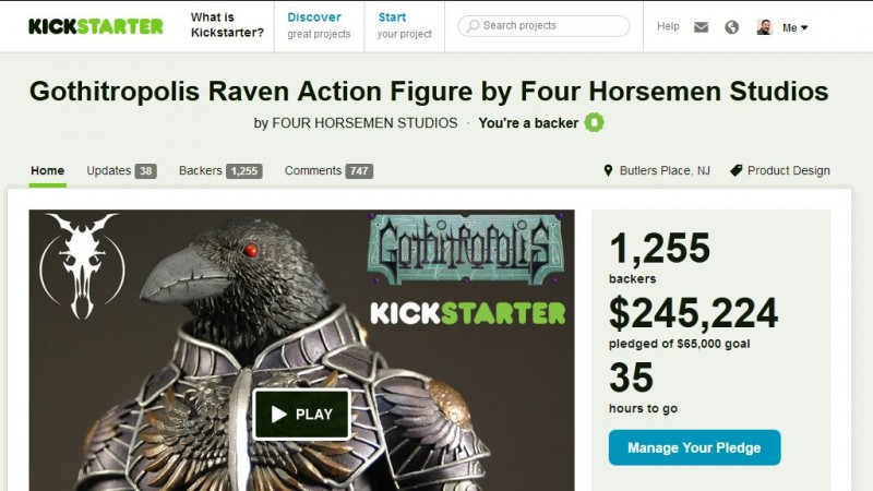 Kickstarter - Gothitropolis Ravens by the Four Horsemen - 35 hours to go
