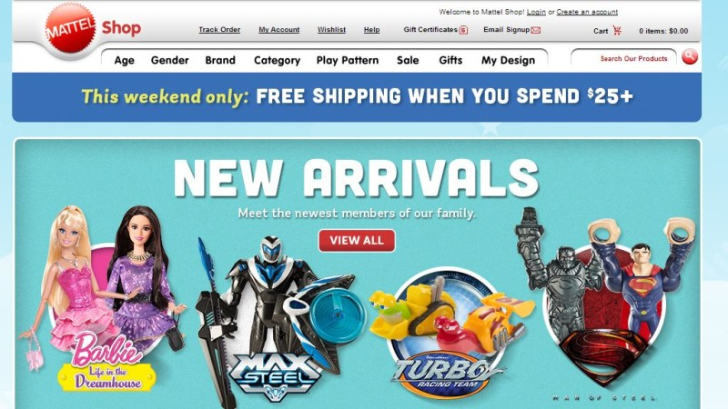 Mattel Shop  free shipping over 25