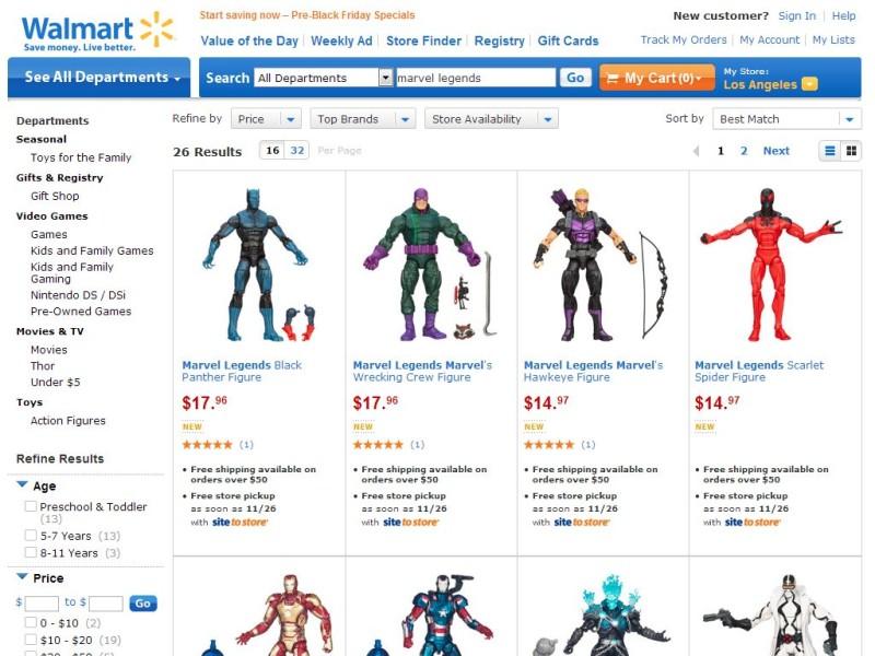 Marvel Legends at Walmart