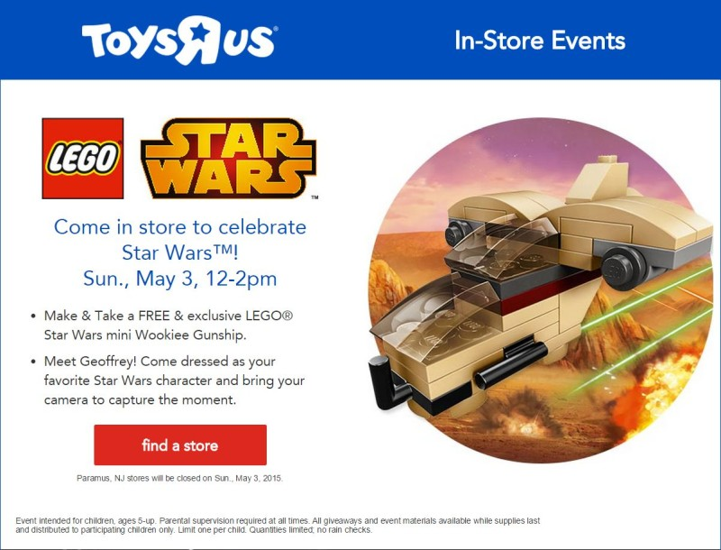 Toys R Us LEGO Star Wars May 3
