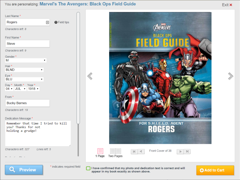 Put Me In The Story (Avengers Black Ops Field Guide) - 1 personalization page